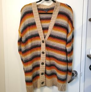 American Eagle Long Rainbow Knit Cardigan